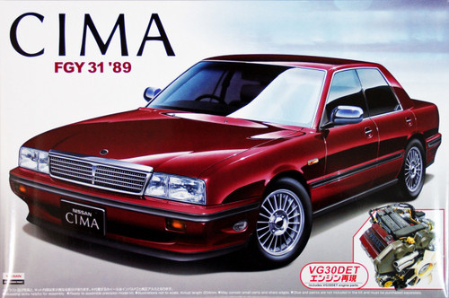 Aoshima 43370 Nissan Cima (Y31) 1989 with VG30DET Engine 1/24 Scale Kit