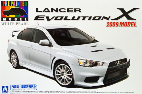 Aoshima 08034 Mitsubishi Lancer Evolution X 2009 Model White Pearl 1/24 Scale Kit (Pre-painted Model)