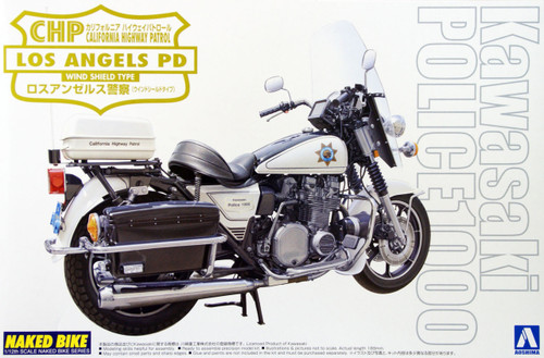 Aoshima Naked Bike 113 03336 Kawasaki Los Angeles Police 1000 Wind Shield 1/12 Scale