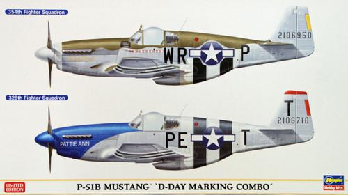 Hasegawa 02054 P-51B Mustang D-Day Marking Combo (2 plane set) 1/72 Scale Kit