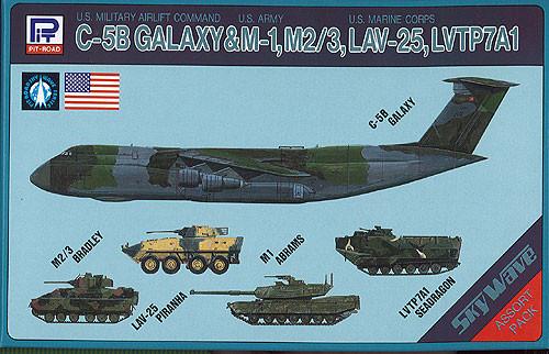 Pit-Road Skywave S-04 C-5B Galaxy & M-1, M2/3, LAV-25, LVTP7A1 1/700 Scale Kit