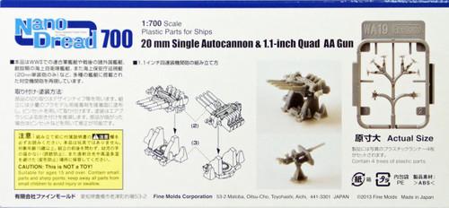 Fine Molds WA19 WW2 20mm Single Autocannon & Quad 1.1 inch AA Gun 1/700 Scale Kit
