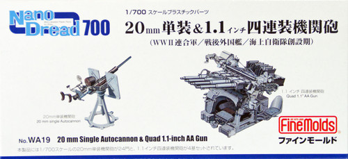 Fine Molds WA19 WW2 20mm Single Autocannon & Quad 1.1 inch AA Gun 1/700 Scale Kit