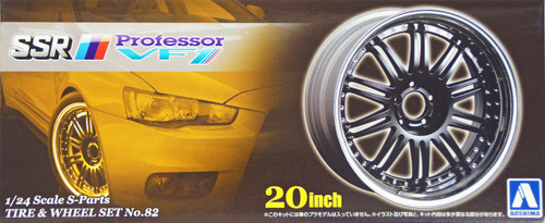 Aoshima 49563 Tire & Wheel Set No. 82 SSR Professor VF1 20 inch 1/24 Scale Kit