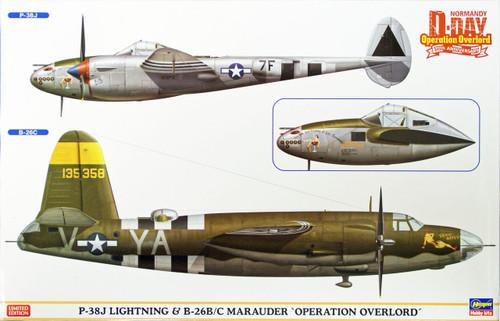 Hasegawa 02091 P-38J Lightning & B-26B/C Marauder Operation Overlord 1/72 Scale Kit