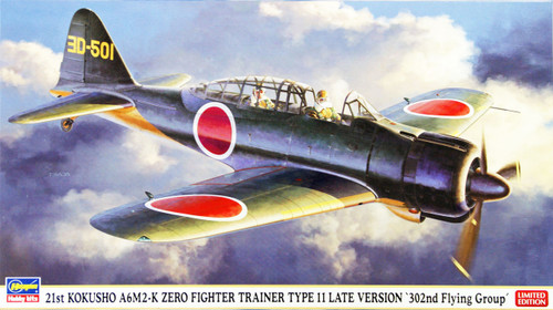 Hasegawa 07372 21st Kokusho A6M2-K Zero Fighter Trainer Type 11 Late Version 302nd Flying Group 1/48 Scale Kit