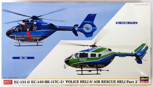 Hasegawa 02110 EC-135 & EC-145 (BK-117C-2) Police Heli & Air Rescue Heli Part 2 (2 Helicopter Kit) 1/72 Scale Kit