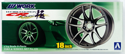 Aoshima 09147 Tire & Wheel Set No.151 WORK EMOTION CR Kiwami 18 inch 1/24 Scale Kit