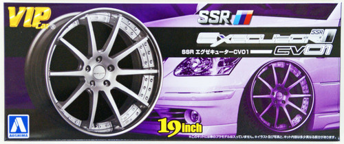 Aoshima 09178 VIP Car Tire & Wheel Set SSR Executor CV01 19 inch 1/24 Scale Kit