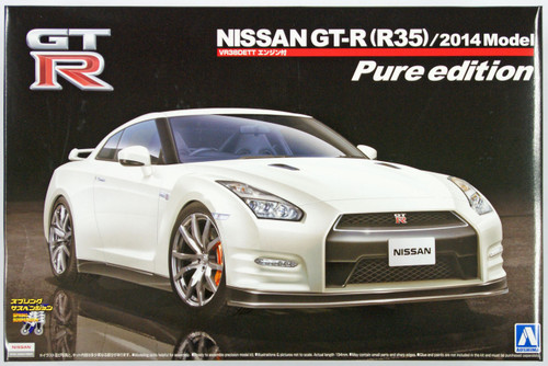 Aoshima 11324 Nissan GT-R (R35) with VR38DETT Engine 2014 Model Pure Edition 1/24 Scale Kit
