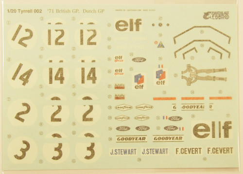 Ebbro 20008 Tyrrell 002 1971 British GP 1/20 Scale plastic model Kit