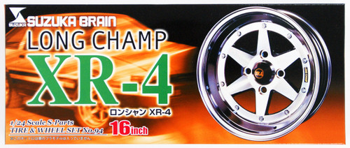 Aoshima 40218 Tire & Wheel Set Suzuka Brain Long Champ XR-4 14 inch 1/24 Scale Kit
