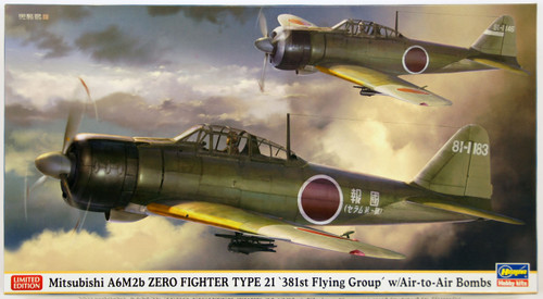 Hasegawa 07411 Mitsubishi A6M2 Zero Fighter Type 21 381st Flying Group with Air-to-Air Bombs 1/48 Scale Kit