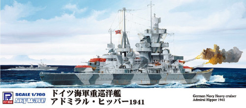 Pit-Road Skywave W-157 German Navy Heavy Cruiser Admiral Hipper 1941 1/700 Scale Kit