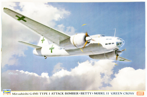Hasegawa 02167 Mitsubishi G4M1 Type 1 Attack Bomber (Betty) Model 11 Green Cross 1/72 Scale Kit