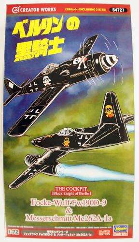 Hasegawa 64727 The Cockpit Black knight of Berlin Focke-Wulf Fw190D-9 & Messerschmitt Me262A-1a 1/72 Scale Kit