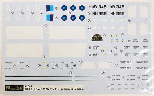 Fujimi F60 Spitfire F.R.Mk.14E (Fighter Recon) / P.R.Mk.19 (Blue Invader) 1/72 Scale convertible Kit