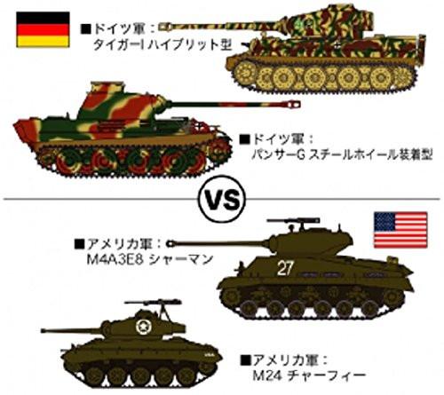 Hasegawa 30035 Tiger I & Panther G VS M4A3E8 Sherman & M24 Chaffee 1/72 Scale Kit