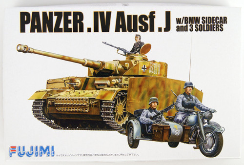 Fujimi WA12 World Armor Panzer IV Ausf. J w/ BMW Sidecar & 3 soldiers 1/76 Scale Kit