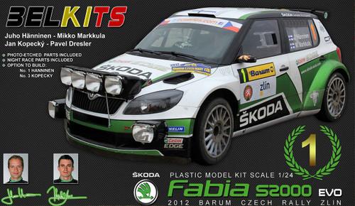Aoshima (BELKitS) 84328 Škoda Fabia S2000 EVO 2012 Barum Czech Rally Zlin 1/24 Scale Kit