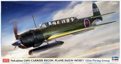 Hasegawa 07421 Nakajima C6N1 Carrier Recon. Plane Saiun (Myrt) 121st Flying Group 1/48 Scale Kit