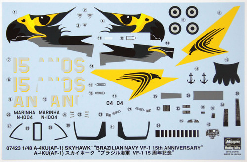 Hasegawa 07423 A-4KU (AF-1) Skyhawk Brazilian Navy VF-1 15th Anniversary 1/48 Scale Kit