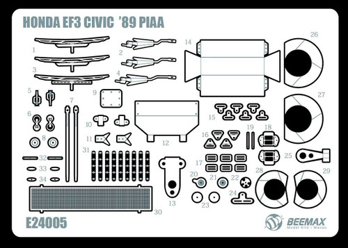 Aoshima 84595 Honda Civic EF3 Gr. A 1989 PIAA Photo Etched Parts 1/24 Scale