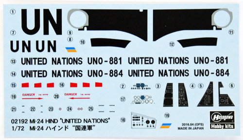 Hasegawa 02192 Mi-24 Hind United Nations 1/72 Scale Kit