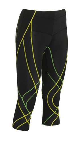 CW-X Women's 3/4 Endurance Generator Tights Black Green Yellow