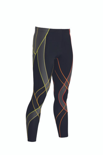 CW-X Mens Endurance Generator Tights  Black/Orange Stripe