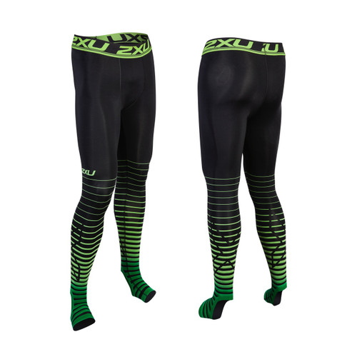 2XU - Men's  Power Recovery Compression Tights - Black/Green - AW17