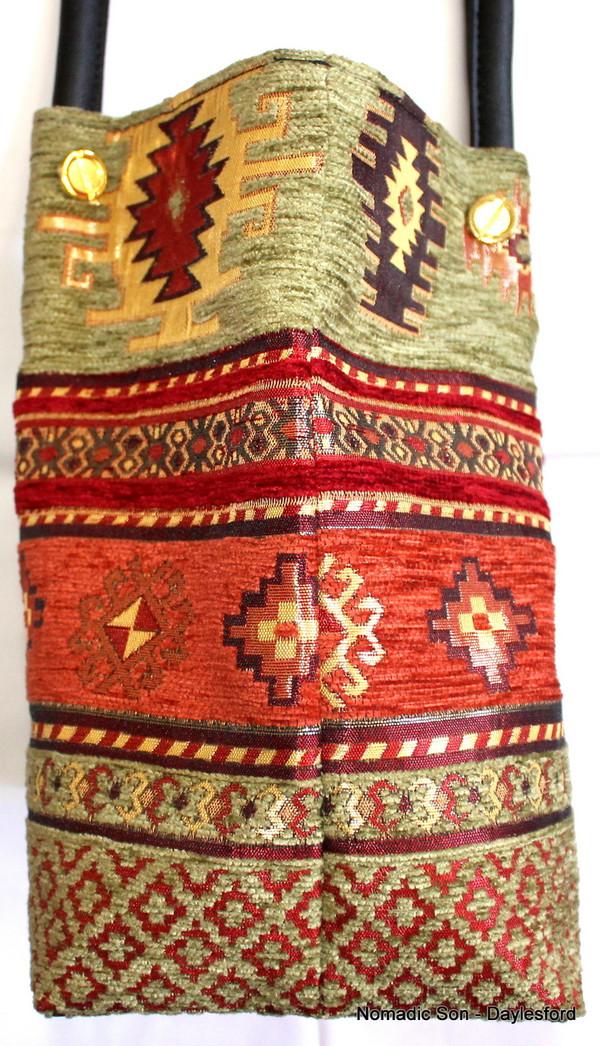 Woven Textile Handbag Clasped