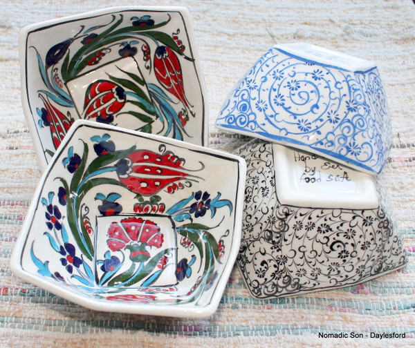 Small cubic ceramic bowls, handmade and hand painted.