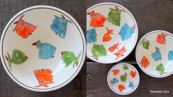 Whirling Dervish SUFI ceramic bowl - 12cm