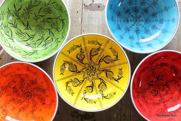 30cm 'Mediterranean' Bowls - Hand painted in Turkey. Dishwasher safe, food safe.
