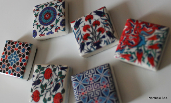Mini Ottoman magnets, 2*2cm in a mixed pack of 6 pieces.