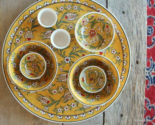 Soloman's Platter Set - hand painted - 8 pieces - Food safe