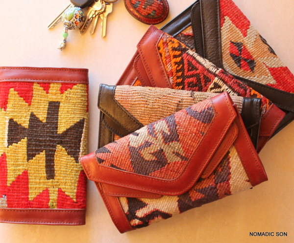 Vintage handwoven kilim and genuine leather hand crafted ladies wallet.