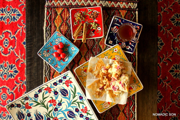 Soloman's Square Platter Dishes in Small, Medium and Large.  Food safe, Dishwasher safe, Hand painted in Turkey.  Traditional 15th Century Ottoman Designs.