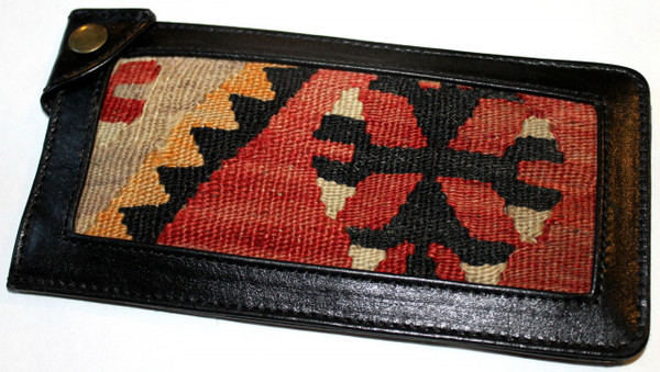 Kilim and Leather padded glass holders