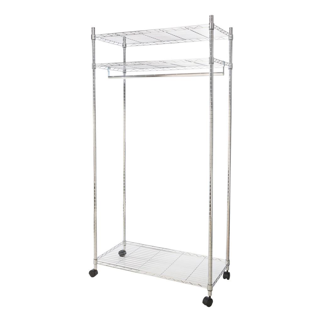 Heavy Duty Chrome Clothes Rail With Shelves