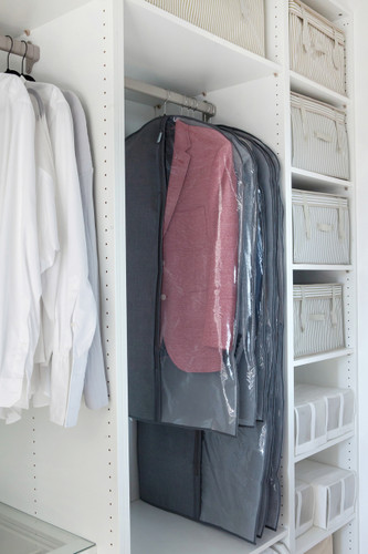 Breathable Grey Suit Cover With Large Viewing Window