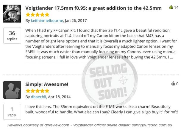 Voigtlander 17.5mm f0.95 Nokton MFT Lens + TRIPLE Australian Warranty