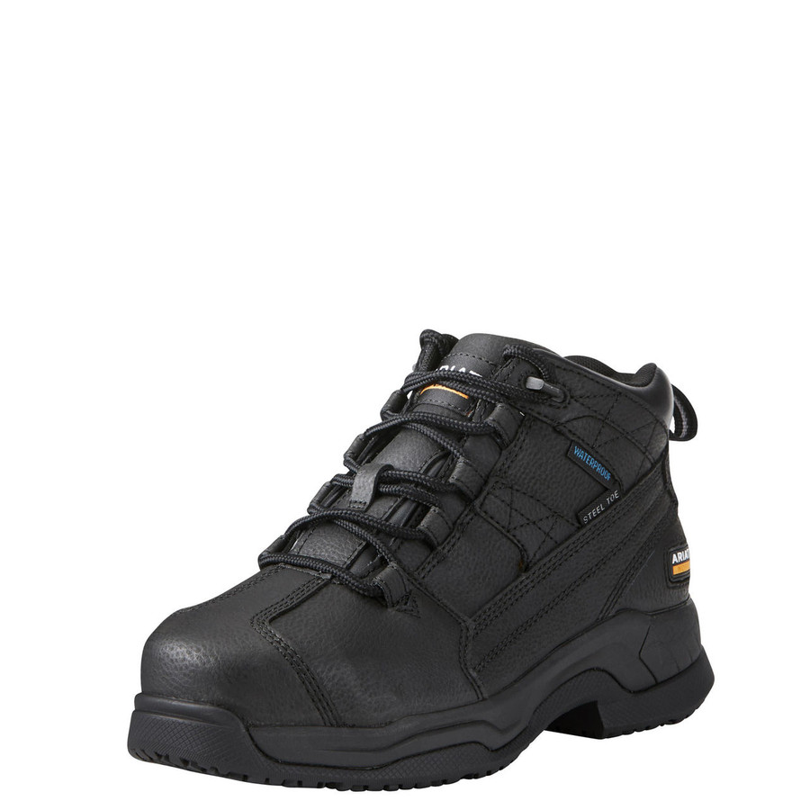 womens black leather work shoes
