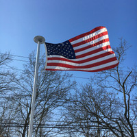 Endura-Nylon American Flag flying high and proud. 3'x5' on the 21' Classic Flag pole. All 100% Made in the U.S.A.