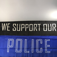 We Support Our Police Flag: 3'x5' Nylon Outdoor flag. Made in U.S.A.