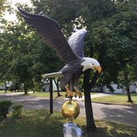 Large Natural Painted Eagle Flagpole Ornament With Gold Globe Mounted on flagpole-Made in USA. #2