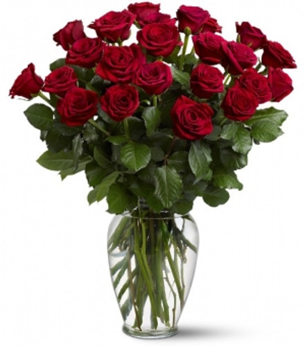 Two Dozen Vased Roses