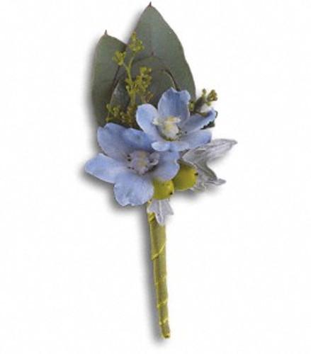 Delphinium blossom boutonniere