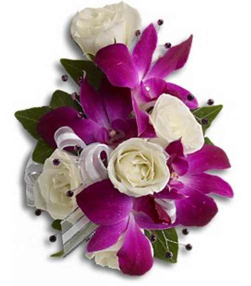 Purple orchid corsage